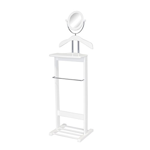 Proman Products Trojan Valet with 360 Degrees Vertical and Horizontal Swivel Mirror and Shoe Rack, White by Proman Products