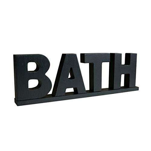 CVHOMEDECO. Rustic Vintage Wooden Words Sign Free Standing Bath, Bathroom/Home Wall/Door Decoration Art (Black 1)