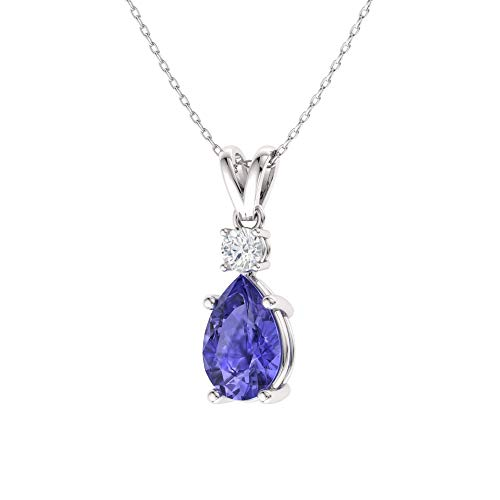 Diamondere Natural and Certified Pear Cut Tanzanite and Diamond Drop Petite Necklace in 14k White Gold | 0.39 Carat Pendant with Chain