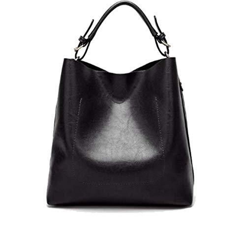 Womens Hobo Bag Durable Leather Tote Messenger Bag Shoulder Handbag Crossbody Bags for Ladies (Black)