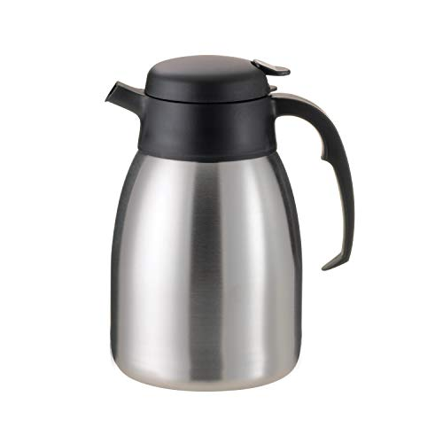 Service Ideas FVPC20 SteelVac Carafe, Vacuum Insulated, 2.0 Liter (67.6 oz.), Brushed Stainless/Black Accents (Pack of 6)