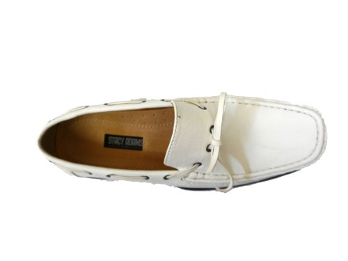Stacy Adams Mens Mackay Driving Mocassino Bianco