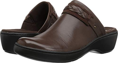 CLARKS Women's Delana Abbey Clog, Dark Brown Leather, 095 M US