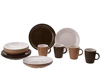 Gimex melamina Cocina de Classic Line Earth 16 Piezas, 4 Tazas, 4 ...
