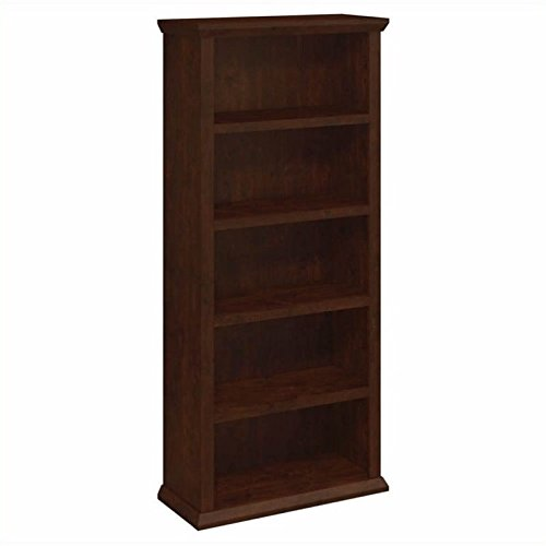 Wood Cherry Antique (Bush Furniture Yorktown 5 Shelf Bookcase in Antique Cherry)