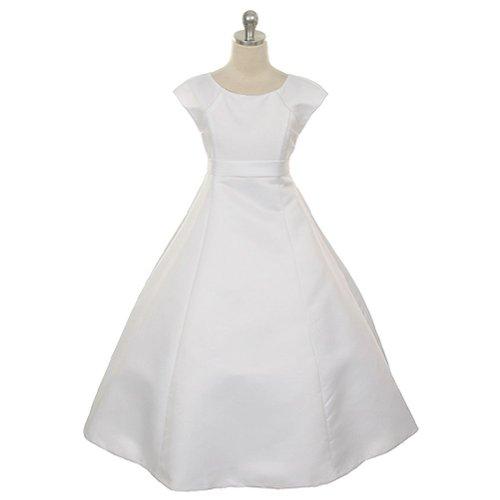 Rain Kids White Satin Flower Special Occasion Dress Plus Size Girls 20 (Size Dresses Satin Plus)