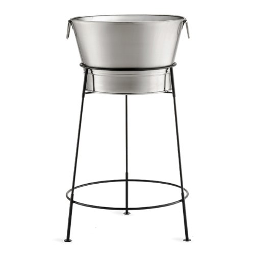 Tablecraft Remington Beverage Tub, Stainless Steel with Black Stand, 20-Inch
