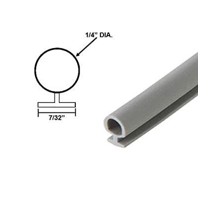 """Bulb Type Weatherstripping for Door and Windows, Gray, 1/4"""" Dia., 7/32"""" Backing - 20 Ft."""