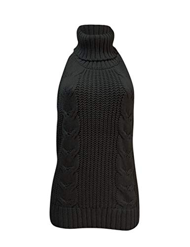 Olens Japan Style Turtleneck Sleeveless Open Back Sweater Anime Cosplay Sweater, Black, One ()