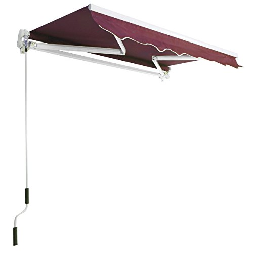 Burgundy 8.2'×6.5' Retractable Deck Awning Sunshade Shelter Canopy Outdoor Manual (Indoor Air Conditioner Cover Xl compare prices)