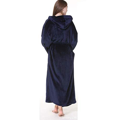Huifang Invierno Pijama Azul Cálido Franela Tamaño Otoño Oscuro E Grande color Negro Albornoces Oscuro Capucha Pareja Metro Con Gruesa Extra Gris Larga rIn6ZXrq