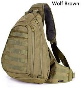 KWELJW Chest Sling Pack A4 One Single Shoulder Man Big Large Ride Travel Backpack Bag Advanced Wolf Brown: Amazon.es: Deportes y aire libre