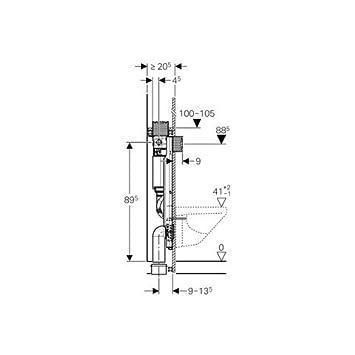 Geberit GIS Element für WC, 100 cm, mit Omega seidglanz ...