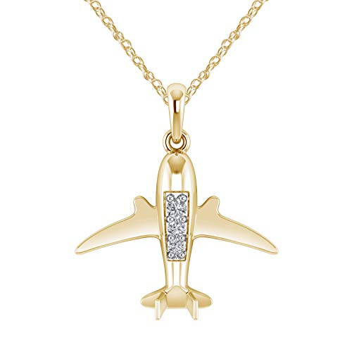 Pretty Jewels 0.11 Ct Natural Diamond 925 Sterling Silver Flying Airplane Pendant Necklace for Woman (I1-I2/G-H) (Yellow-Gold-Plated-Silver) ()