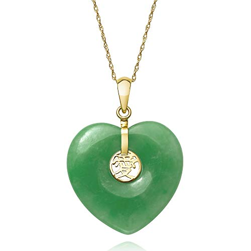 14k Yellow Gold Natural Jade Heart Charm Pendant Necklace, 18""