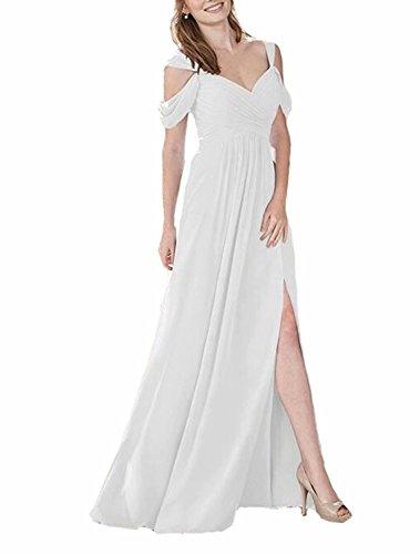 TTdamai Women's Off Shoulder Bridesmaid Dresses Long Chiffon HIgh Slit Wedding Party Prom Dresses US4 Size by TTdamai