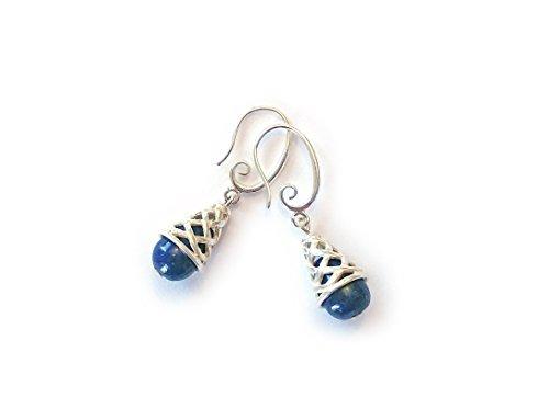 Basketweave Earrings Jewelry - Natural Lapis Lazuli Drop Earrings with Sterling Silver Basketweave Cones - Gemstone Earrings