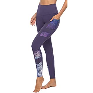 Persit Yoga Pants for Women with Pockets High Waisted Print Workout Leggings Athletic Gym Soft Yoga Leggings - Purple - M