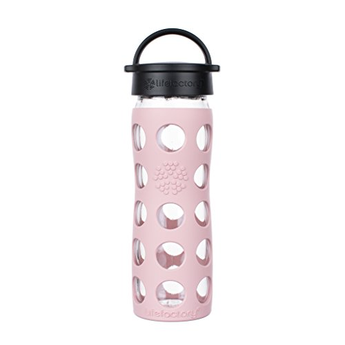 Lifefactory 16-Ounce BPA-Free Glass Water Bottle with Classic Cap and Protective Silicone Sleeve, Desert ()