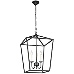"Ascher Black Paint Metal Lantern Chandelier with Cage Open Frame, Foyer Pendant Lamp, 3-Light Candle Ceiling Light Fixture, 16.93"" x 16.93"" x 25"", Chain Length 59.06""(3 Lights Bulbs Included)"
