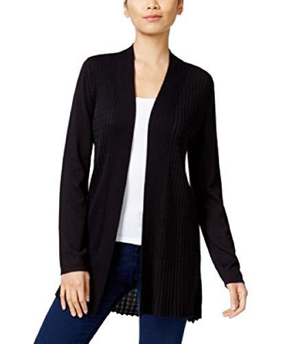 Alfani Womens Petites Casual Long Sleeves Cardigan Sweater Black PM
