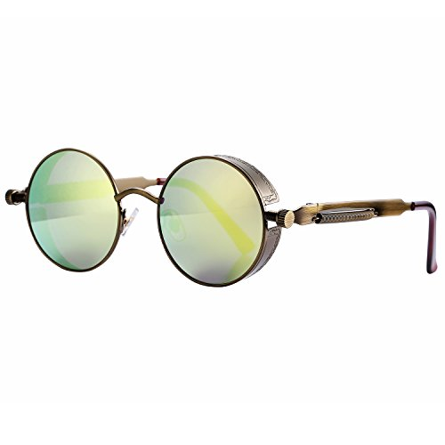 Pro Acme Gothic Steampunk Sunglasses for Men Women Metal Frame Round Lens Gold Mirrored Lens