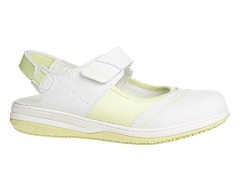 Oxypas Medilogic Melissa Slip-resistant, Antistatic Nursing Shoes in White with Green Size EU 39 / UK 6