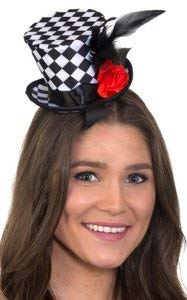 Alice In Wonderland Hat (Checkered Mini Top Hat Headband with Feathers &)