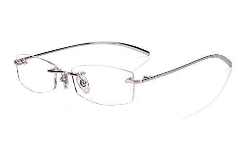 Agstum Pure Titanium Rimless Glasses Prescription Eyeglasses Rx (Silver, 53)