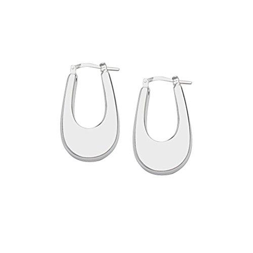 Flat Hoop Oval Earrings Artform Designer Collection Sterling Silver Nontarnish