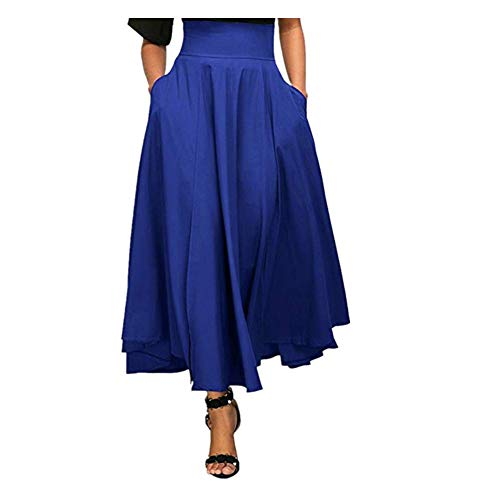 NREALY New Women's High Waist Pleated A Line Long Skirt Front Slit Belted Maxi Skirt(L, Blue)