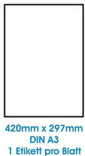 50 STK. Selbstklebende WEIßE Etiketten permanent klebend Adressetiketten Etikettenformat DIN A3 (420.0 x 297.0 mm), 50 Blatt DIN A3, 70g/qm, geeignet für Inkjetdrucker-, Laserdrucker und Kopierer.