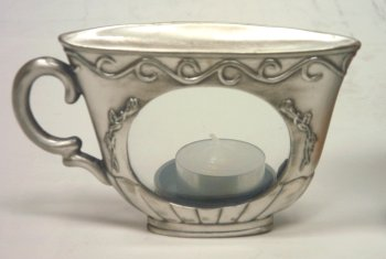 - Glory Land Pewter Teacup Votive Candle Holder with Oval Window (Item # 1351)
