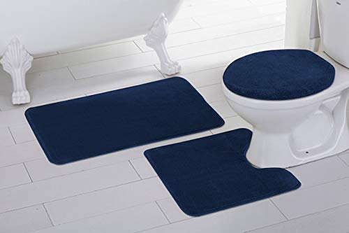 Mk Home 3pc Absorbent Bath Mat Set Solid Navy Blue with Bath Rug, Contour Mat and Toilet Seat Lid Cover Non-Slip Rubber Blacking New ()