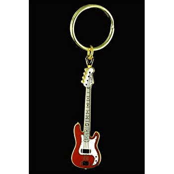 electric bass guitar key chain red home kitchen. Black Bedroom Furniture Sets. Home Design Ideas