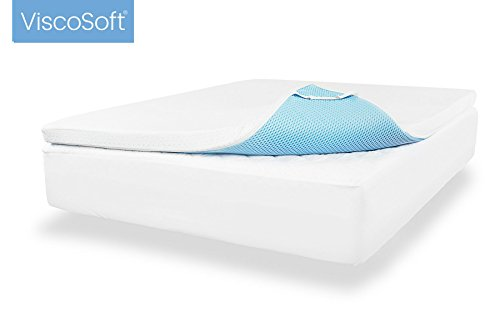 ViscoSoft 3.5 lbs. Density 3-Inch Gel Memory Foam Mattress Topper (Queen) – Includes Ultra Soft Removable Cover Adjustable Straps