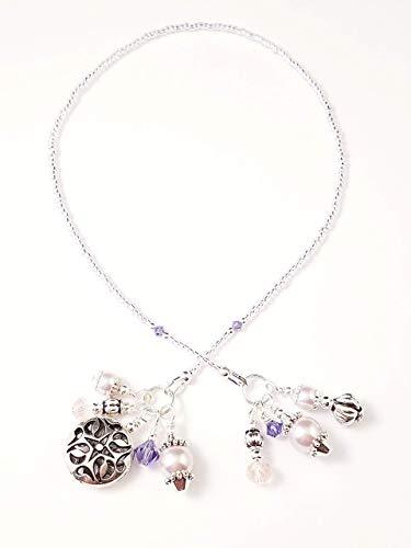 Handmade Beaded Bookmark~Light Pink Pearl & Purple~Swarovski Crystal~Book Thong