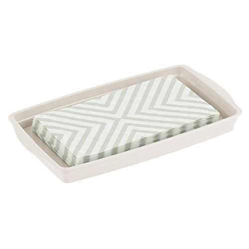 mDesign Plastic Storage Organizer Tray for Bathroom Vanity Countertops, Closets, Dressers - - Vanity Mirrors Bathroom Cream