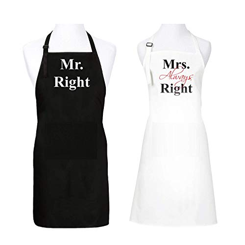 Mr & Mrs Black & White Aprons with Pockets - Funny Newlywed/Bridal Shower/Engagement/Anniversary/Wedding Gifts | His and Hers Matching Couples Aprons (Standard, Mr. Right & Mrs. Always Right)