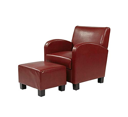 Wood & Style Furniture Club Chair with Ottoman in Eco Leather, Crimson Red Home Office Commerial Heavy Duty Strong Décor Eco Leather Club Chair