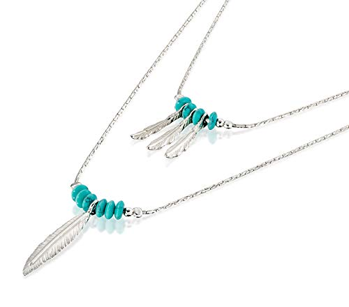 925 Silver Multi Charms - Women's 925 Sterling Silver Multi-Layer Necklace with Turquoise Beads and Feather Charms, 18