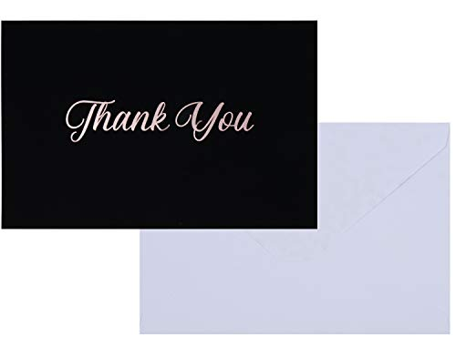 (Thank You Cards - 100-Pack Premium Thank You Greeting Card and Envelopes Stationery Set for Wedding, Birthday, Business, Black with Rose Gold Foil Print, Velvet Soft Touch Finish, 4 x 6 Inches)