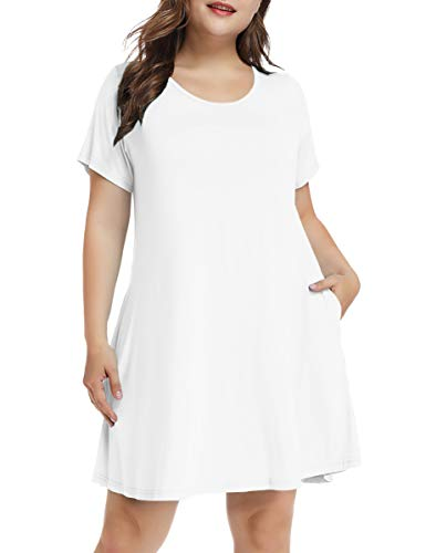 Boots White T-shirt - LARACE Women's Short Sleeve Swing Tunic Casual Pockets Loose T Shirt Dress (Small, A-Short White)