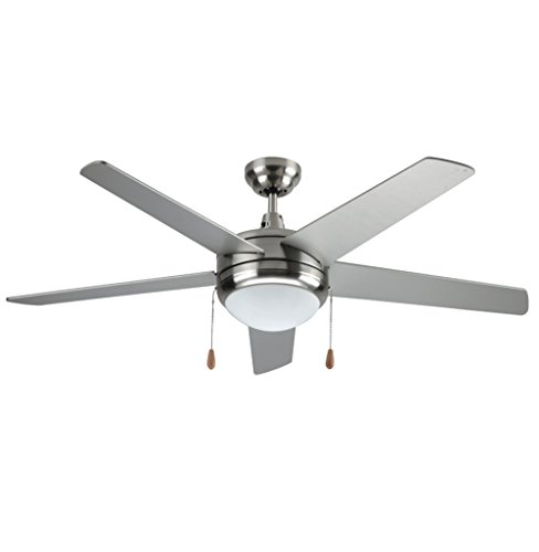 (LB92100 LED Ceiling Fan, 50-Inch 5 Blade, Antique Brushed Nickel, 15W (65W equivalent), 3000K Warm White, 120° Beam Angle, 1000 Lumens, ETL & DLC Listed)