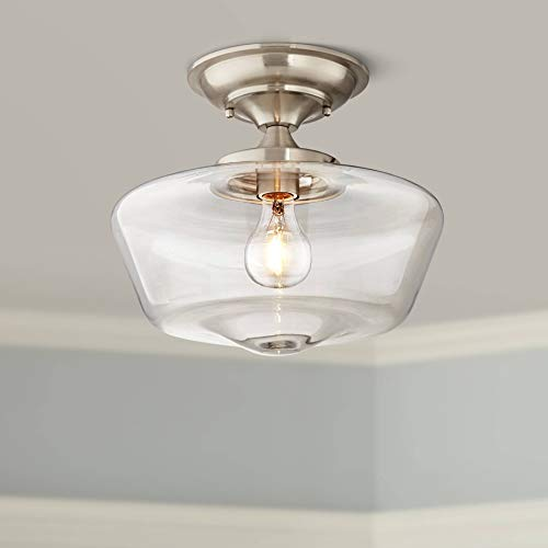 Brushed Nickel Clear Glass - Schoolhouse Floating Ceiling Light Semi Flush Mount Fixture Brushed Nickel 12