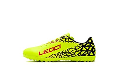 LEOCI Performance Turf Soccer Shoes - Men and Boy Soccer Shoes Indoor Soccer Cleat Yellow Size: 1.5