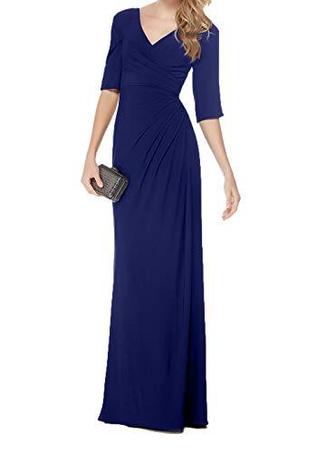 Royal Etuikleider Blau Damen Langarm Abendkleider Brautmutterkleider Chiffon Charmant Partykleider Festlich Lang Dunkel Ballkleider P0xqd7B