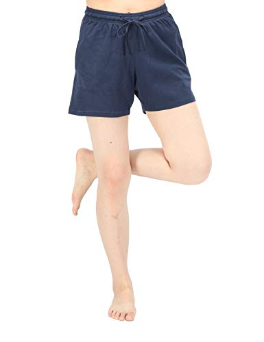 (WEWINK CUKOO Women Shorts Cotton Sleep Shorts Stretchy Lounge Shorts with Pockets Blue)