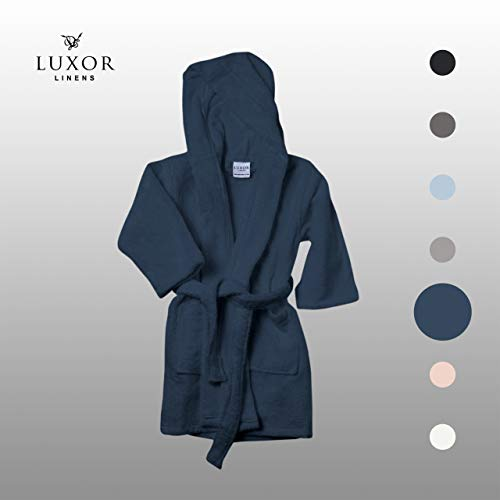 - Luxor Linens Kids Robe - Luxury Hooded Bathrobe for Girls and Boys and 100% Egyptian Cotton (Navy, Large)