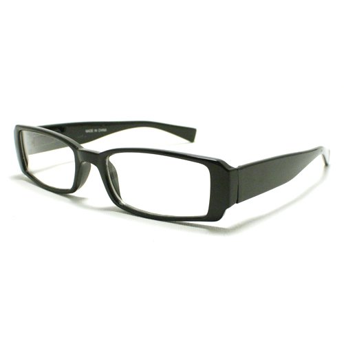 Black Extra Narrow Rectangular Plastic Frame Clear Lens Fashion Eye - Rectangle Glasses Black Thick
